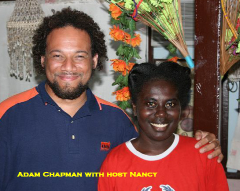 Adam Chapmand and host Nancy at Aravai Guesthouse - click here for more pictures!