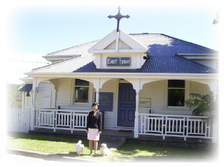 Padma in front of Nelligen's Anglican Church