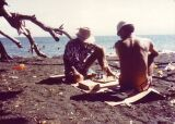 Playing chess with Noel Butler on Lae beach Christmas 1974